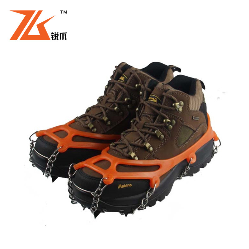 1Pairs Ice Gripper Outdoor Crampons Antiskid Shoe Covers Climbing Claw Snow Hiking Ski Shoes Nail Chain 8 Toothed rd871596(China (Mainland))