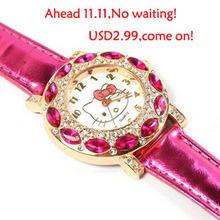 Free Shipping Top Fashion Brand Hello Kitty Quartz Watch Children Girl Women Leather Crystal Wrist Watch Wristwatch Cut Lovely(China (Mainland))