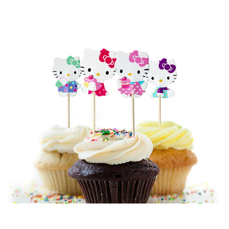 48pcs Hello Kitty Set Cupcake Toppers for Girls Children Party Decoration for Party Picks Kitty Cat Event Party Supplies(China (Mainland))