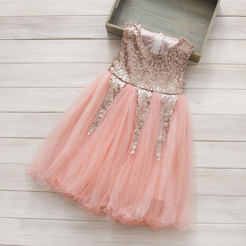 Summer Dress 2016 Girls sleevless sequined Dress children