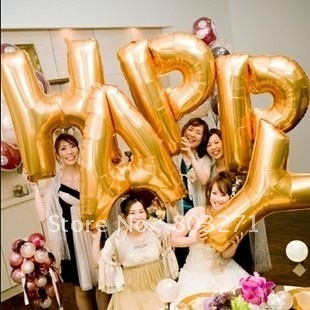 Large 90cm Letter Balloon Aluminium Foil Balloons, Letters from A to Z,Golden/Silver Color ,Party,Holiday(26PCS)-Free Shipping