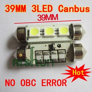 Wholesale 50pcs/lot Canbus DC 12V 39mm 3pcs SMD 5050 LED Car Auto Light Bulbs LED License Plate Light LED Festoon Light Bulbs