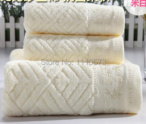 100% cotton face towel 2pc 34x75cm and bath towel 1pc 70x140cm gift set super soft terry washcloth bathroom beach towels ZJ006A(China (Mainland))