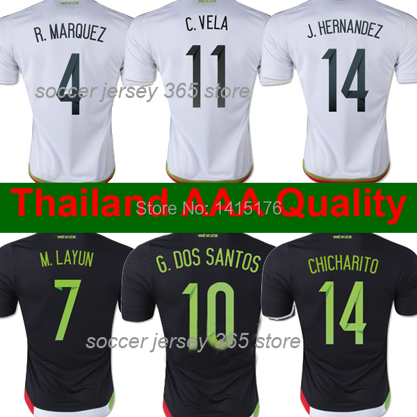 Thai AAA Grade CHICHARITO Mexico jersey 15 16 WHITE BLACK Mexico soccer jersey 2015 Mexico football soccer shirts Free shipping(China (Mainland))