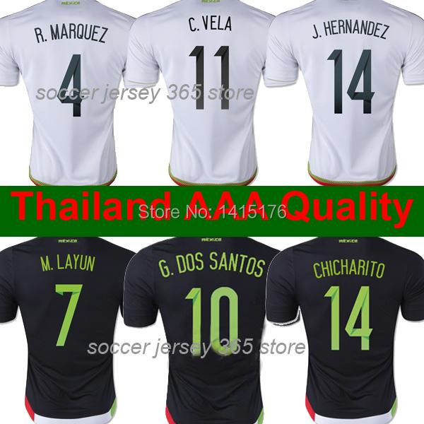 Thai AAA Grade CHICHARITO Mexico jersey 15 16 WHITE BLACK Mexico soccer jersey 2015 Mexico football soccer shirts Free shipping(China (Mainland))