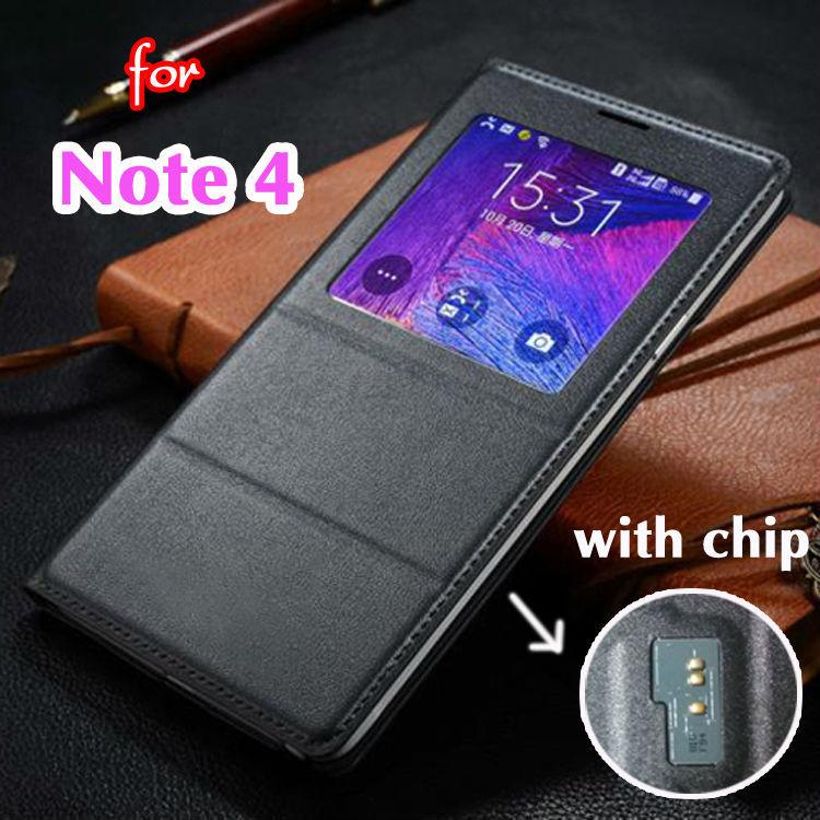 Гаджет  Smart View Auto Sleep Wake Shell With Original Chip Battery Bag Leather Case Flip Cover For Samsung Galaxy Note 4 Note4 N9100 None Телефоны и Телекоммуникации