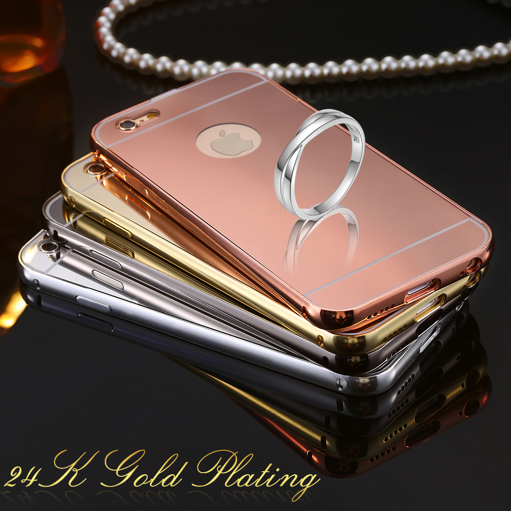 Floveme for iphone 6 gold plating aluminum metal frame for Phone mirror