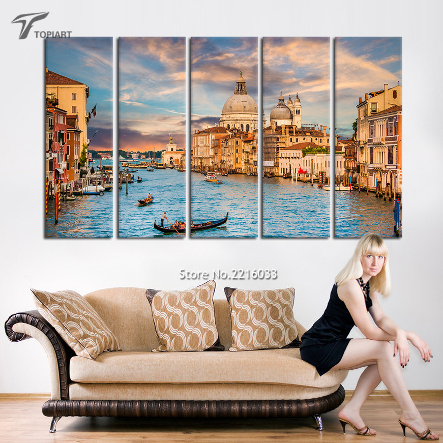 5 Piece Canvas Art Landscape Venice Italy Painting On Canvas Water City Skyline Large Wall Pictures for Living Room (No Frame)(China (Mainland))