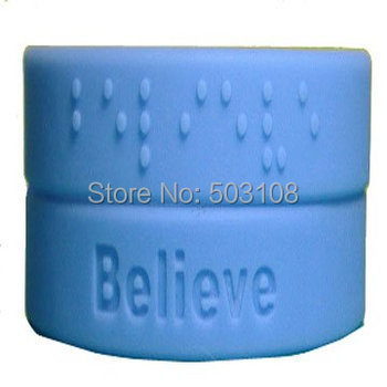 Believe braille promotional silicone wristbands