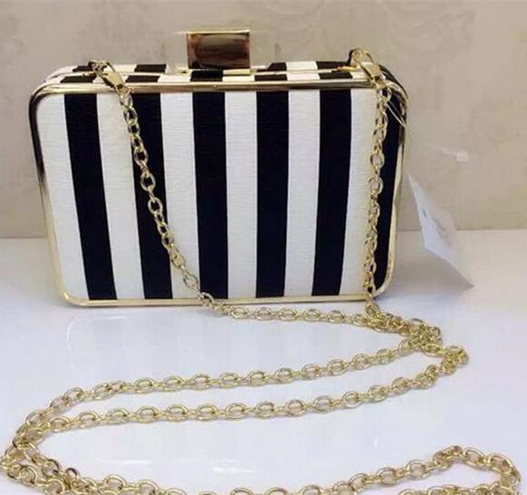 2015 top quality fashion women black and white strip evening clutch wedding clutch purse brand party bag drop shipping  696N<br><br>Aliexpress