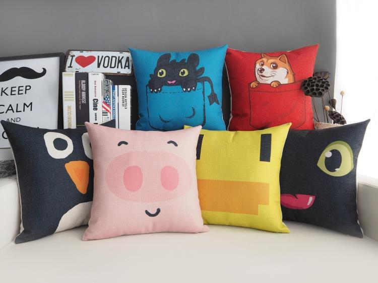 Free shipping cute animal pink pig duck dog penguin face pattern Cushion Cover decorative throw pillow Case(China (Mainland))