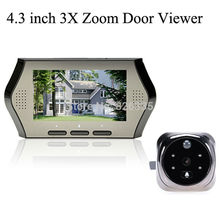 4.3 inch Digital Video 3X Zoom IR 120 Angle Recording Door Viewer Doorbell Peephole Camera Supports TF Card(China (Mainland))