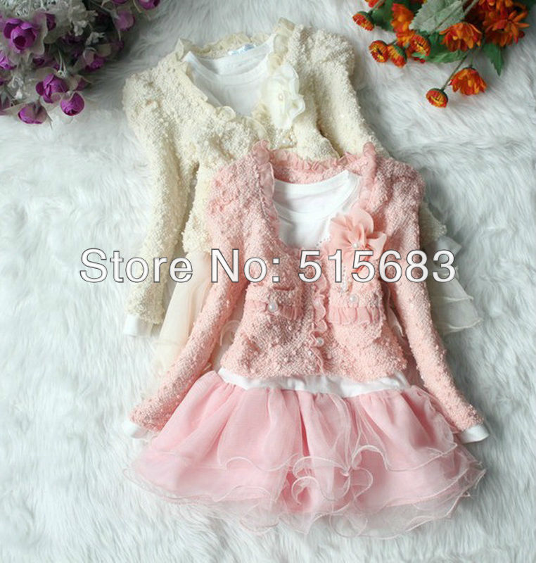 Retailed 2Colors Pink/Beige 2Pcs(Coat and Dress) Girls Outfit Jacket Tutu Top Dress Toddler Party Pageant Flower 2-6Y Shirt New(China (Mainland))