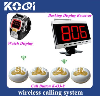 25pcs Transmitter Bells and 1 pc display panel and 2pcs watches pager for Paging System Wireless Call Guest Pager