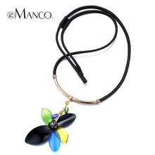 Acrylic flower pendant leather cord necklace eManco 2015 spring new arrival women crystal zinc alloy necklace