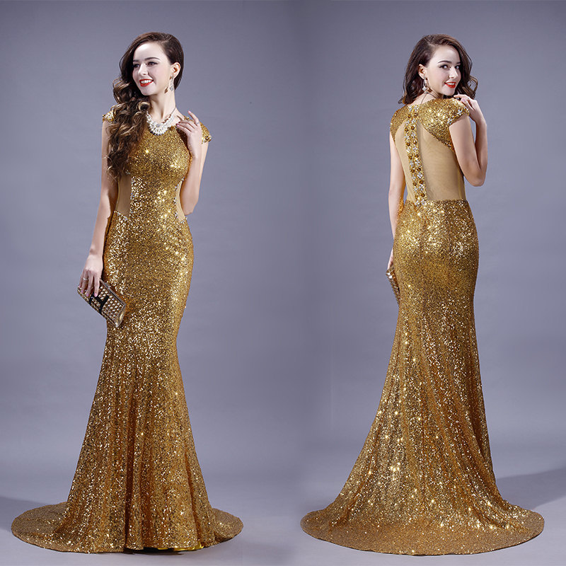 Crop Top Gold Sequin Evening Dresses Cap Sleeves Cut Out Mermaid Formal Evening Gown Women Wear(China (Mainland))