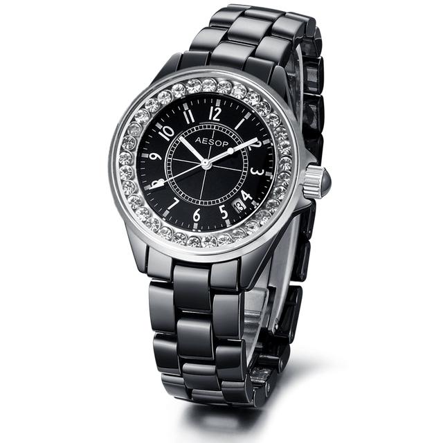 Aesop cubic zirconia wristwatch ceramic swiss wrist watch quartz movement quality guarantee 9930 free shipping