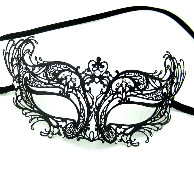 Black Laser Cut Venetian Masquerade Metal Filigree Masks Woman Fashion transparent Rhinestones Wedding Halloween Masks MA003-BK(China (Mainland))