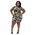 2016 New Fashion Women Summer Dress Short Sleeve Sexy Mini Dresses Women Green Camouflage Print Plus