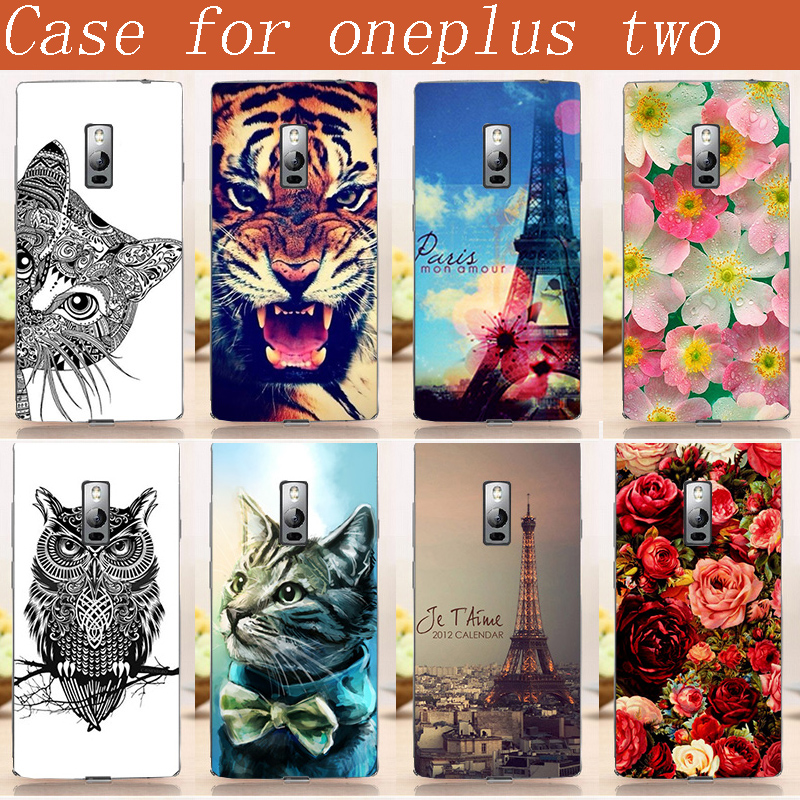 New fashion Printing Case Oneplus 2 phone cover case One Plus Two pattern flowers aniamls Eiffel Towers Back Cover Skin