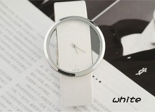 Grande del dial transparente hollow moda de corea del hombre de la marca de relojes casuales de cuero retro tablas par de relojes de señora