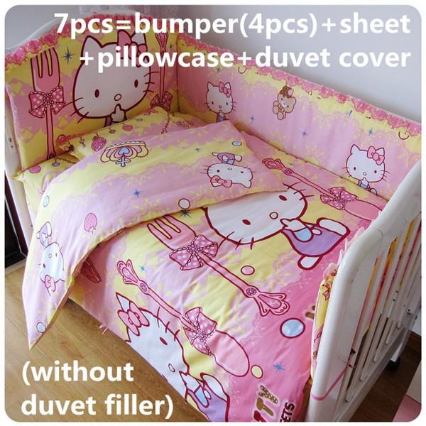 Discount! 6/7pcs Hello Kitty crib baby bedding kit bumper bed linen 100% cotton cot bedding Sets,120*60/120*70cm<br><br>Aliexpress