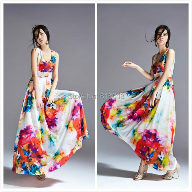 Summer Dress 2014 Women Casual Dresses Long Beach Sleeveless Print 02253 - sandy FAN's store