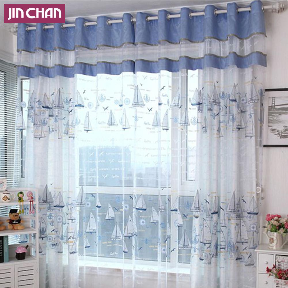 New Translucidus mediterranean Style Blue Sailing Pattern Window Curtain Balcony finished product tulle curtain(China (Mainland))