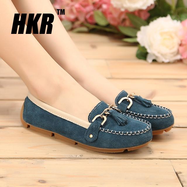 HKR 2016 весна женщины Мокасины обувь женская из натуральной кожи обувь для беременных ...