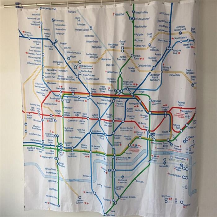Cortinas De Baño Londres: cortina de ducha London Subway mapa baño cortina(China (Mainland