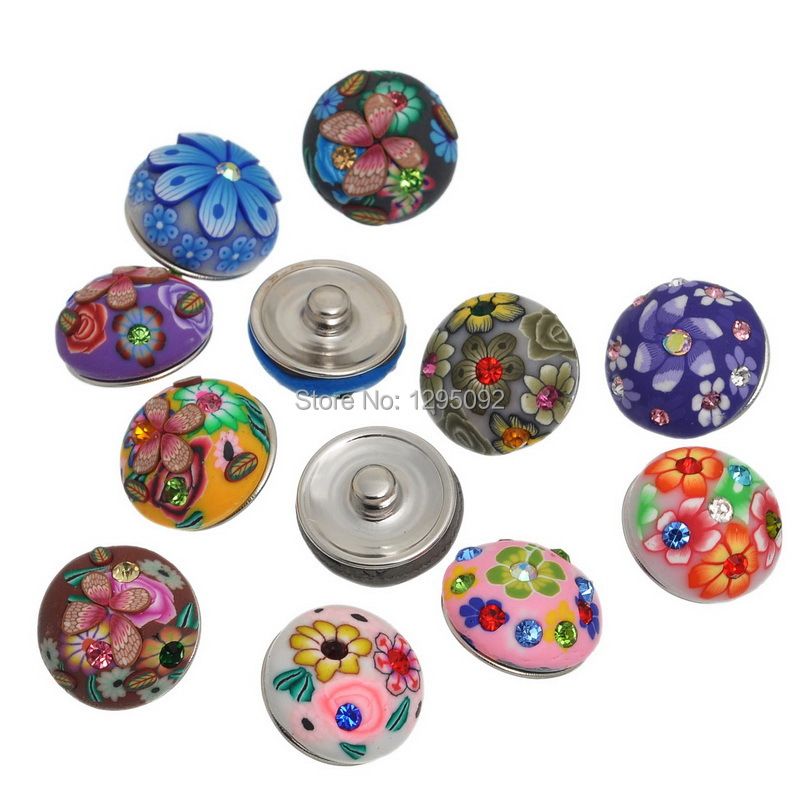 50Pcs Wholesale Mixed Polymer Clay Cabochon 5.5mm Snap Buttons Fit Bracelets Jewelry Making Charms 19mm<br><br>Aliexpress