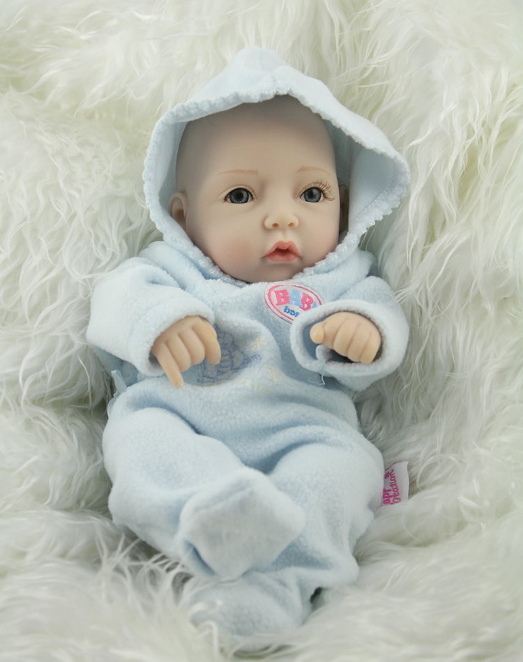 2016 New Arrival Free shipping 10 inch mini newborn baby doll realistic full silicone babies reborn christmas gift(China (Mainland))