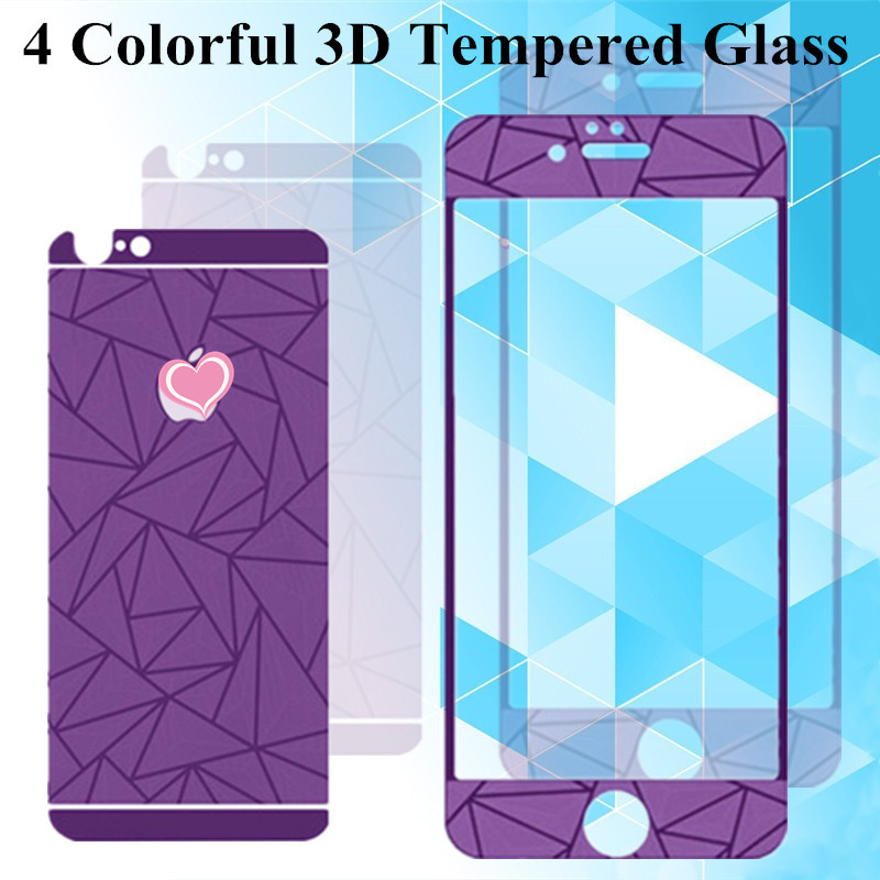 4Color 3D Diamond Screen Protector 4.7''For iphone 6 Front+Back Tempered Glass Toughened Protective Film Guard Tracking NO 1set(China (Mainland))