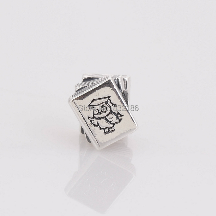 Real 925 Sterling Silver Study Book For Student Kids Screw Stopper Charm Bead