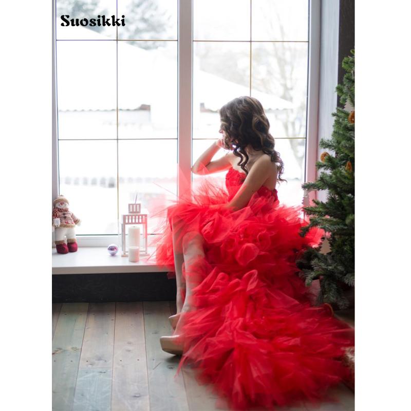 Suosikki 2017 New Sweetheart High low Crytals beaded Ruffles Sheath Organza Short Wedding Dresses Bridal Gowns vestido de novia