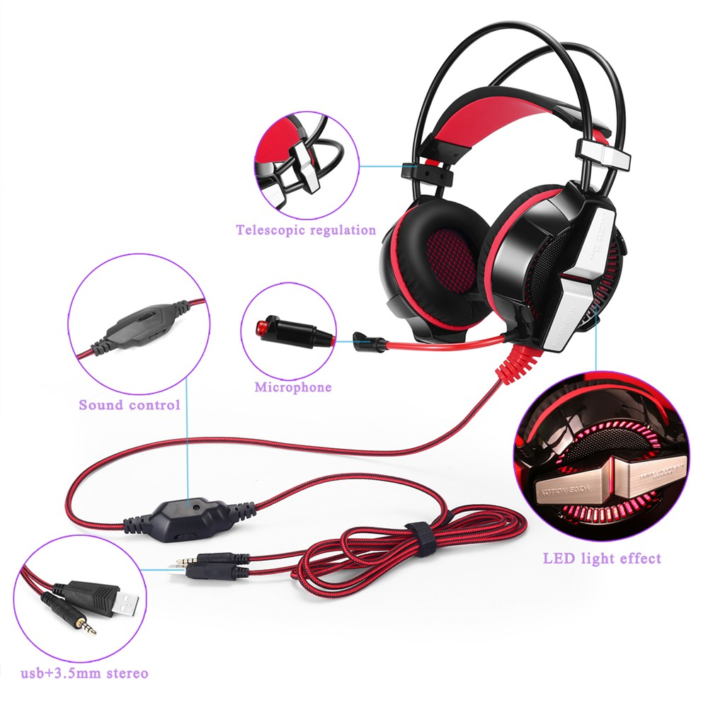 2016 KOTION EACH GS700 Gaming Headset Gaming Headphones Earphone with Microphone Led Light for PS4 PC gamer Laptop Computer