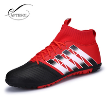 Buy Aptesol Brand 2017 TF Football Shoes High Ankle Mens Kids Training Soccer Boots Non-slip Soccer Shoes High Top Soccer Cleats for $24.99 in AliExpress store