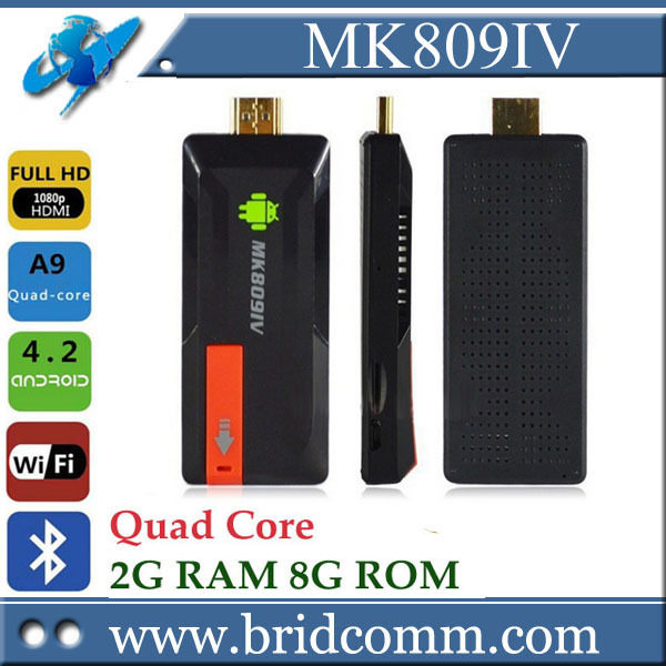 smart tv mk809iv quad core TV mini pc Android 4.4 bar RK3188T TV Stick Bluetooth 2GB 8GB of google chromecast Android tv Box(China (Mainland))