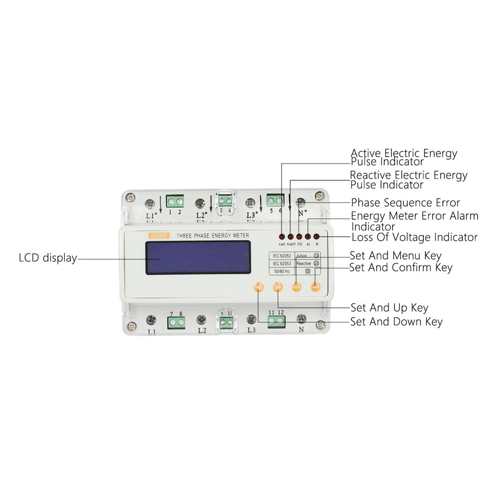 LCD Din Rail Three Phase Electricity Energy Meter Current/Voltage Adjustable Three-phase Din-rail KWH Kilowatt Hour Measurement(China (Mainland))