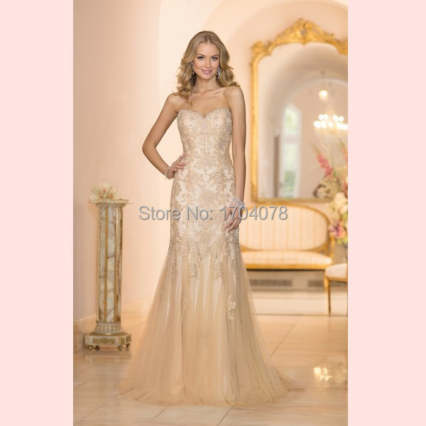 Vintage Wedding Dresses Gold : Antique gold lace wedding dress vestido de noiva hot sale