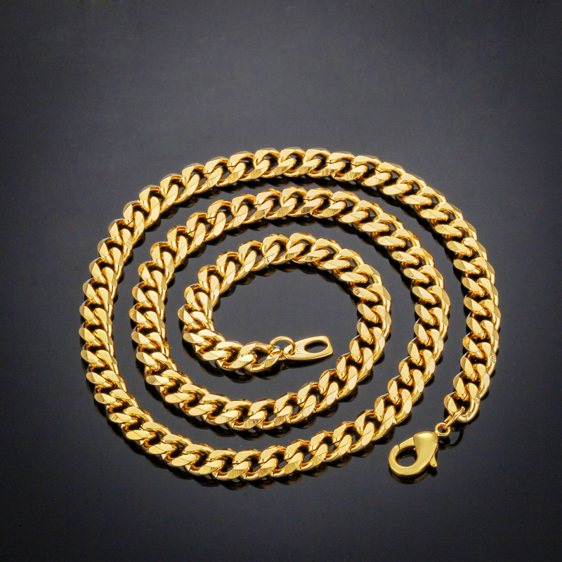 "The new ""18K"" stamp necklace jewelry wholesale new men's fashion 18K gold plating 55 cm wide and 7 mm Cuban Link Chain Necklace(China (Mainland))"