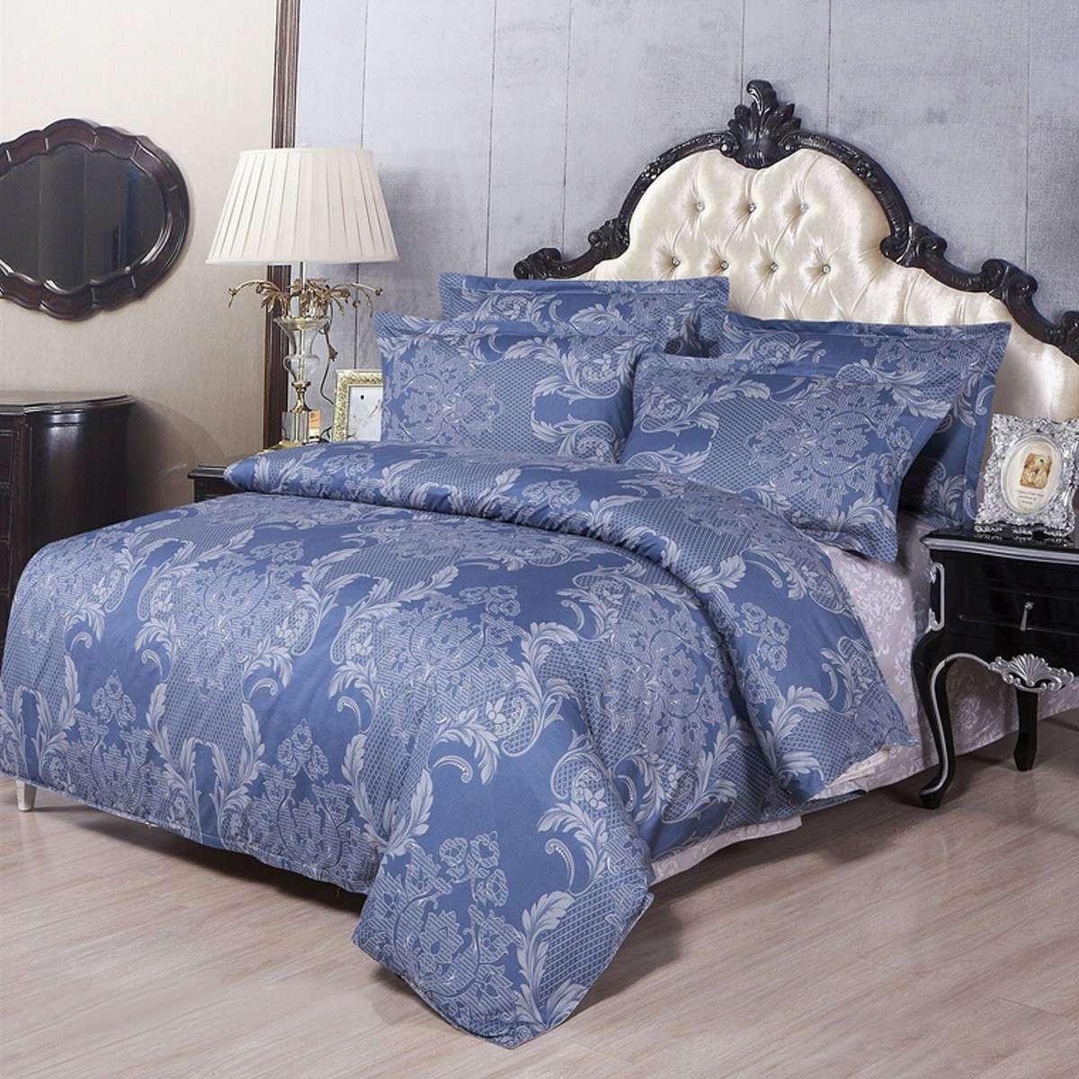Vintage Pattern Blue Foral Print Bedding Sets Luxury Polycotton Pillowcases Quilt Duvet Cover Bedsheet Single Double King Size