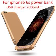 Для Apple iPhone6 6 s Power Bank Батареи Дело 7000 мАч Аккумуляторная Портативный Резервный Внешний Аккумулятор Power Bank Зарядное Устройство USB Случае(China (Mainland))