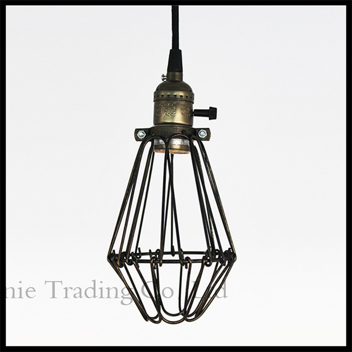 Edison bulbs included 110V - 240V AC metal Pendant Lights vintage mesh minimalist Loft Ikea pendant lamps with knob switch(China (Mainland))