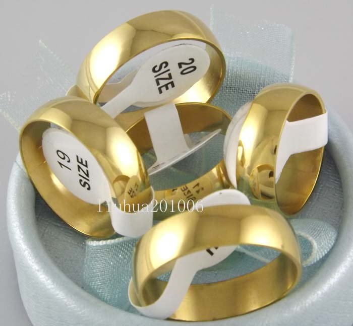 Wholesale 36 pcs 6mm Gold Plated High Polishing Spherical Stainless Steel Rings Fashion Jewelry(China (Mainland))