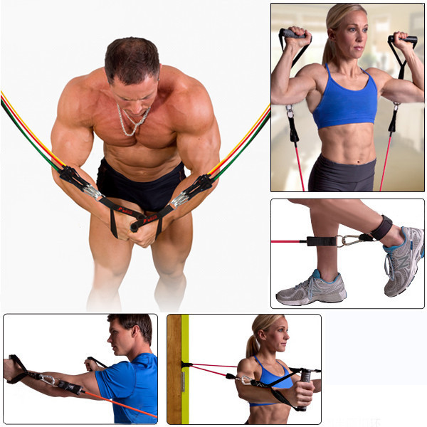 11pc in 1set Rubber Latex Fitness Resistance BandsTubes Practical Elastic Training Rope Yoga Pull Rope Sports fitness equipment(China (Mainland))
