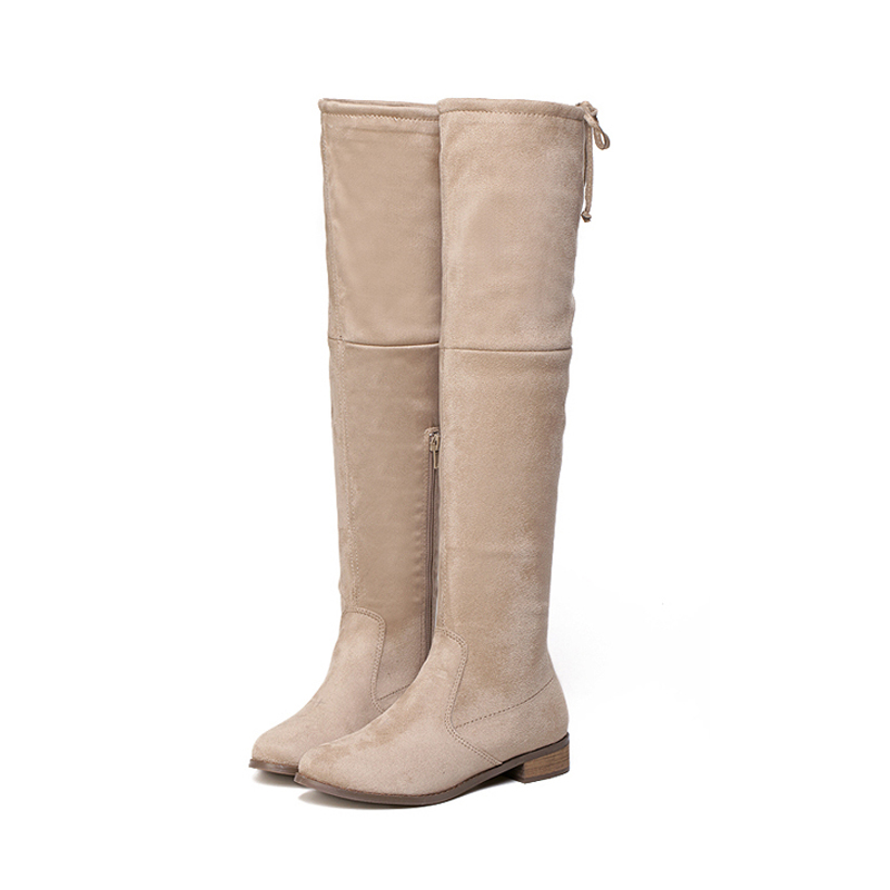 winter lady Warm long knee high boots female zipper Snow Boots Womens Waterproof flat platform Shoes