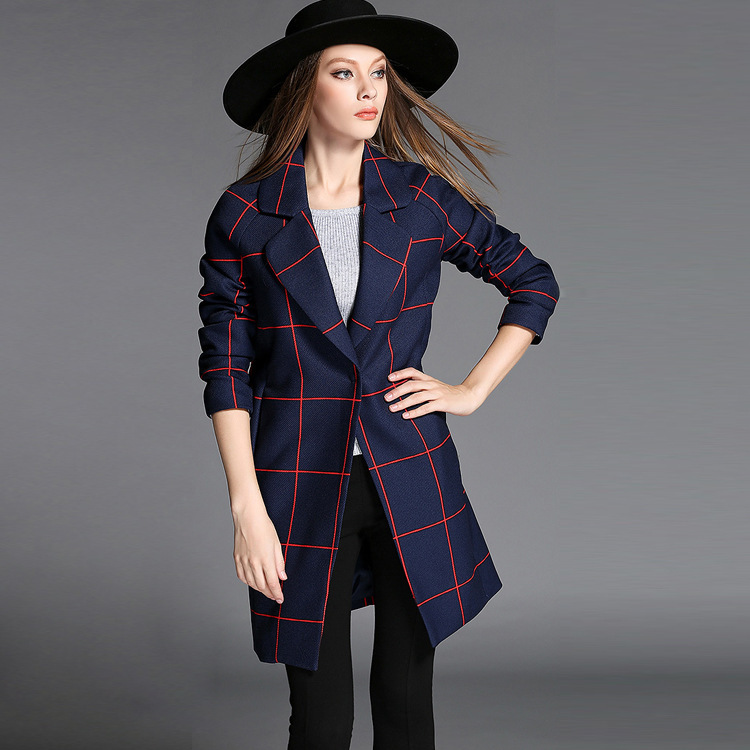 2015 European New Winter Big Red Plaid Jacket Lapel Covered Button Coat