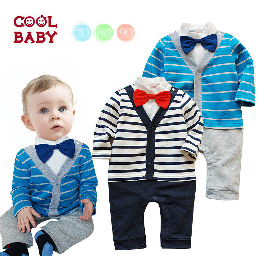 Autumn period and the latest 2015 male baby cotton gentleman bow tie long-sleeved dress cute upgrades handsome oh(China (Mainland))