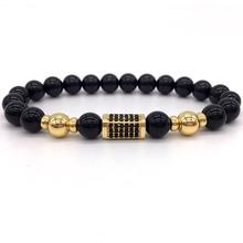 Buy NAIQUBE 2017 New Brand Luxury Men Bracelet Pave CZ Column Charm Bracelet Natural Stone Bead Bracelet Men Jewelry Gift for $3.54 in AliExpress store